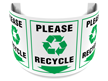 180 Degree Projecting Please Recycle Sign with symbol