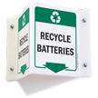 Recycle Batteries Projecting Recycling Sign