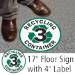 Recycling Container 3 Floor Sign & Label Kit