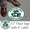 Recycling Container 5 Floor Sign & Label Kit