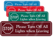 STOP Turn Off Lights When Leaving Wall Sign
