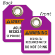 Warning Recycled Reclaimed Water Bilingual Mini Tag