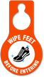 Wipe Feet Before Entering Door Hang Tag