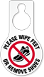 Wipe Feet Or Remove Shoes Hang Tag