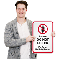 Bilingual Do Not Litter Signs
