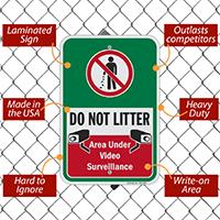 Do Not Litter Recycling Sign