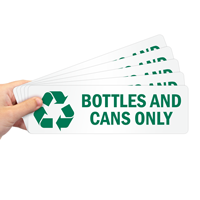 Bottles And Cans Only Labels with Recycle Graphic