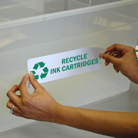 Recycle Ink Cartridges Label with Recycle Graphic