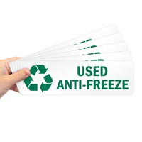 Used Anti-Freeze Label with Recycle Graphic