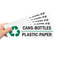 Cans-Bottles, Plastic-Paper Recycle Label