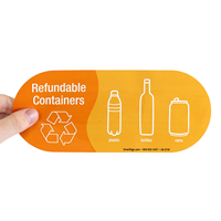 Refundable Containers, Plastic Bottles Cans Vinyl Recycling Stickers