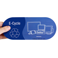 E-Cycle, Electronics Vinyl Recycling Stickers with Recycle Symbol
