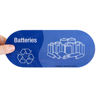 Batteries, Vinyl Recycling Stickers with Graphic