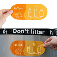 No Trash, Plastic, Glass Aluminum Vinyl Recycling Stickers