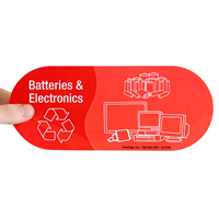 Batteries & Electronics, Vinyl Recycling Stickers with Symbol