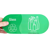 Glass, Bottles Jars Vinyl Recycling Stickers with Symbol