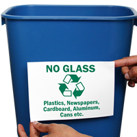 No Glass Plastics Newspapers Recycle Signs