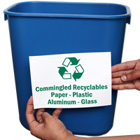 Recyclables Paper, Plastic Aluminum and Glass Signs