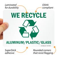 Recycle Aluminum Plastic Glass Sign