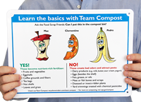 Team Compost Signs, Food Scrap In Compost Bin