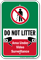Do Not Litter Recycling Sign