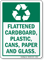Flattened Cardboard, Plastic, Cans, Paper And Glass Sign