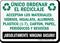 Unico Ordenar El Reciclaje Spanish Sign